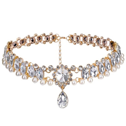 Water Drop Diamante Hollow Out Alloy Torques Choker Necklace