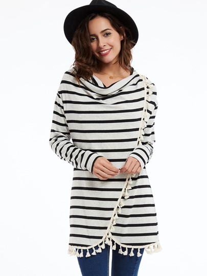 Loose Pullover Tassel Stripe Women's Cape