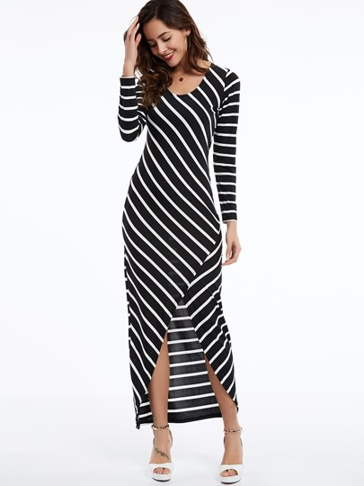 Round Neck Striped Split Women's Maxi Dress