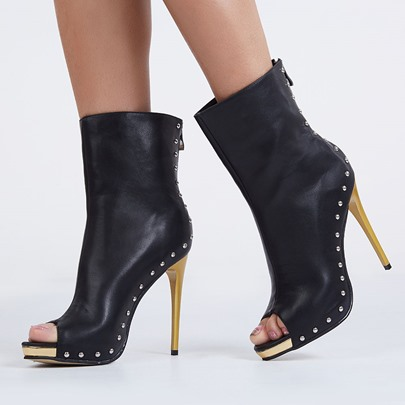 Peep Toe Back Zipper Rivet Women's Boots