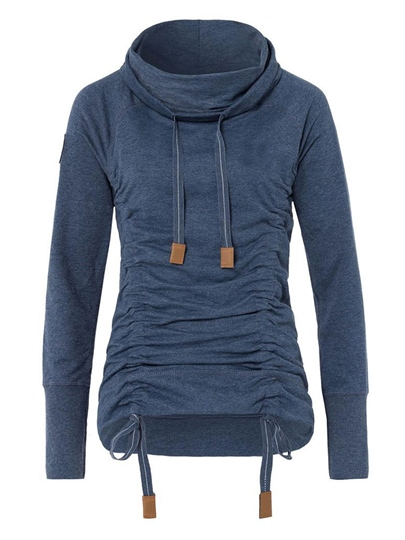 Pleated High Neck Women's Hoodie