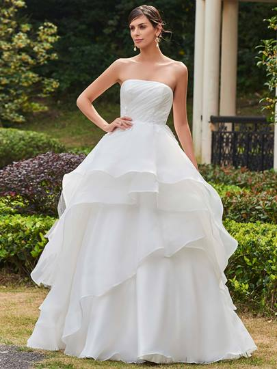 Strapless Tiered Zipper-Up Floor-Length Wedding Dress