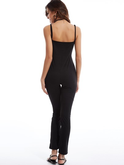 Plain Skinny Spaghetti Strap Pencil Pants Jumpsuit