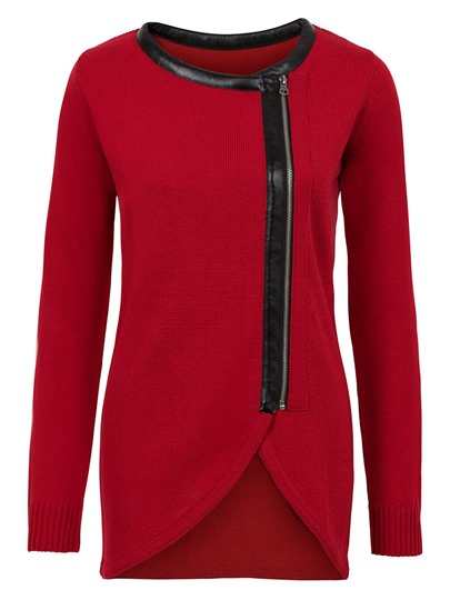 Asymmetric Hem Zip Up Knitted Women's Cardigan