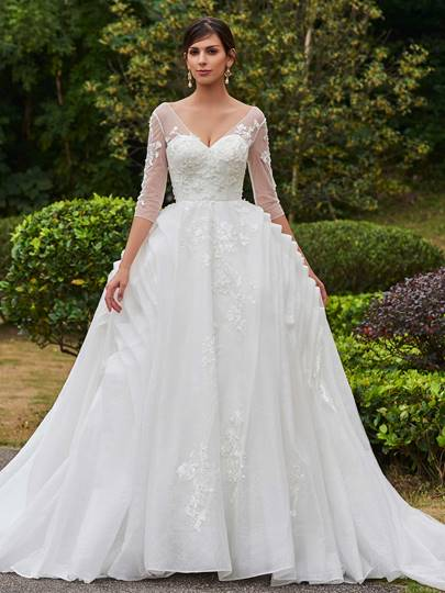 V-Neck 3/4 Length Sleeves Appliques Ruched Wedding Dress