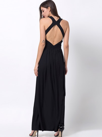 Plain Open Back Ladylike Women's Maxi Dress