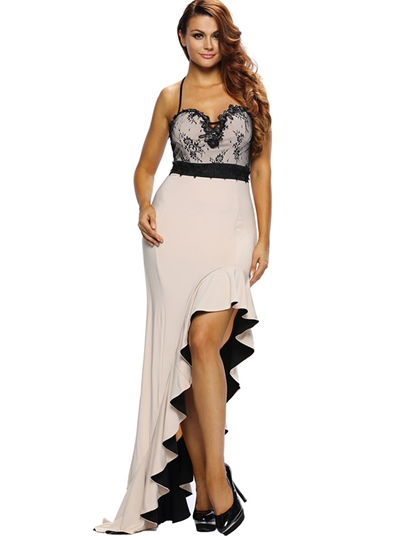 Strappy Falbala Asym Women's Sexy Dress
