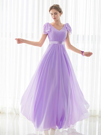 V-Neck Ruched Cap Sleeves Lace-Up A-Line Bridesmaid Dress