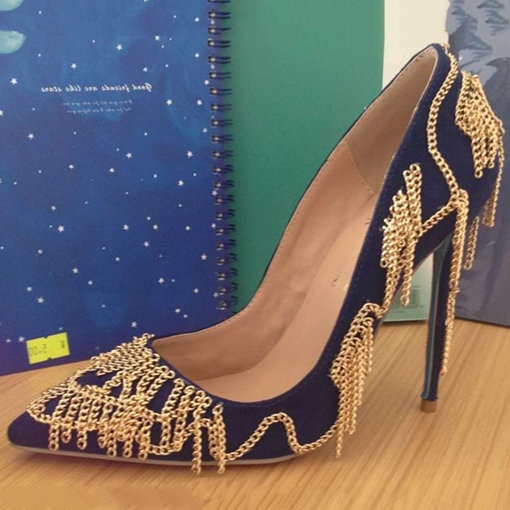Pointed Toe Chain Ultra-High Heel Pumps
