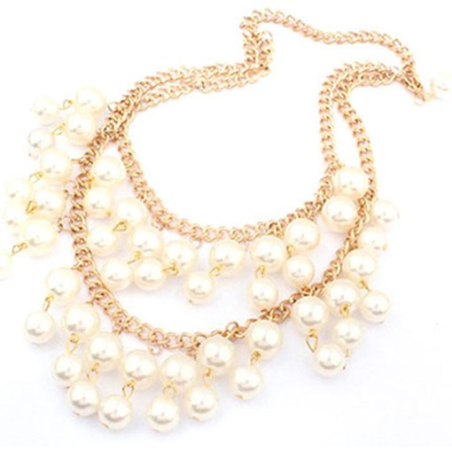 Pearl Link Chain Alloy Double Necklace