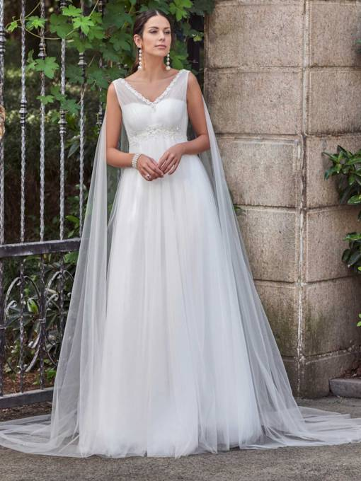 V-Neck Appliques Floor-Length A-Line Wedding Dress With Beading