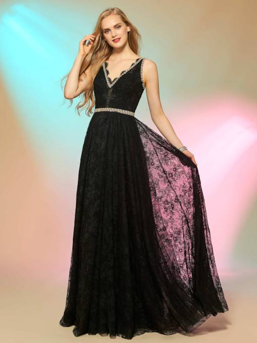 A-Line Sashes V-Neck Beading Lace Prom Dress
