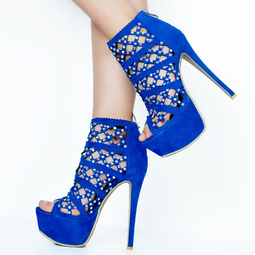 Rhinestone Peep Toe Ultra-High Heel Pumps