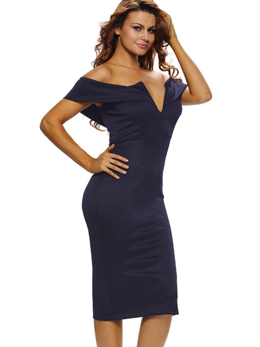 Slash Neck Back Zipper Women's Sexy Dress