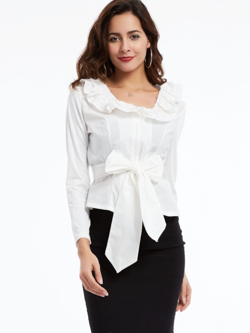 White Long Sleeve Tie Waist Women's Blouse