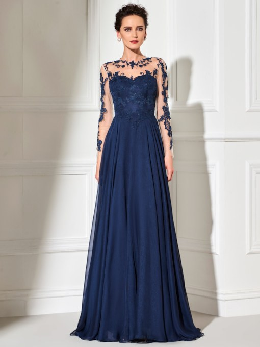 Button Appliques Sheer Long Sleeves Evening Dress