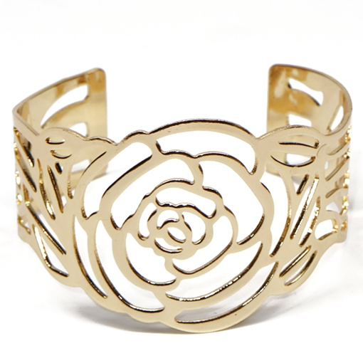 Golden Plated Flower Design Cuff Bracelet