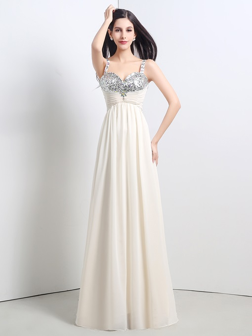 A-Line Spaghetti Straps Beading Sequins Floor-Length Prom Dress