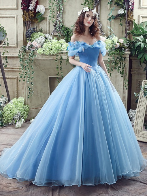 Off The Shoulder Ball Gown Cinderella Wedding Dress