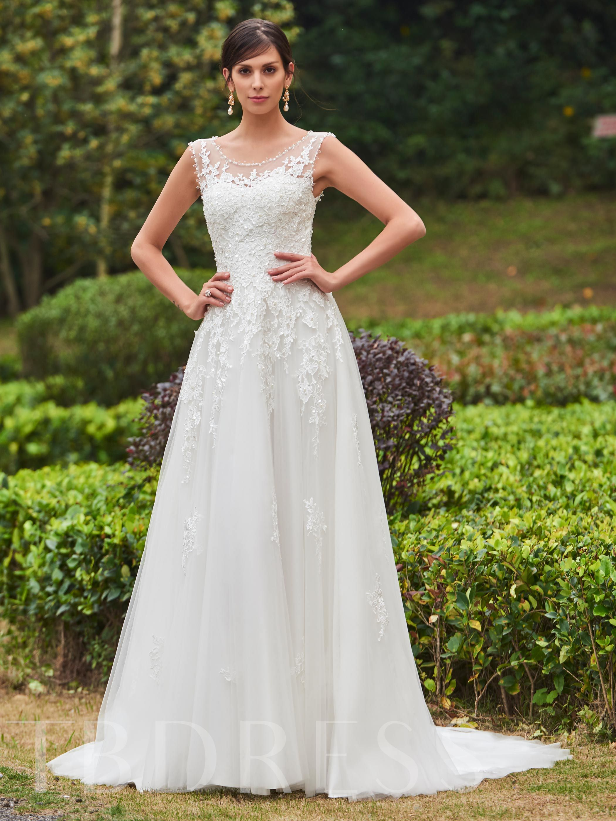 Beading Appliques Court Train A-Line Wedding Dress 12694622