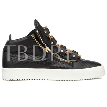 Round Toe Chain Mid-Cut Upper Sneakers