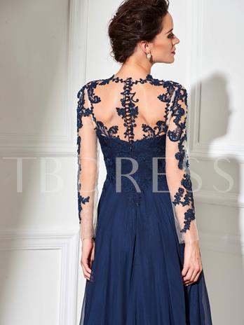 Scoop A-Line Long Sleeves Appliques Evening Dress