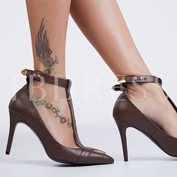 Pointed Toe T-Shaped Buckle Women's Pumps