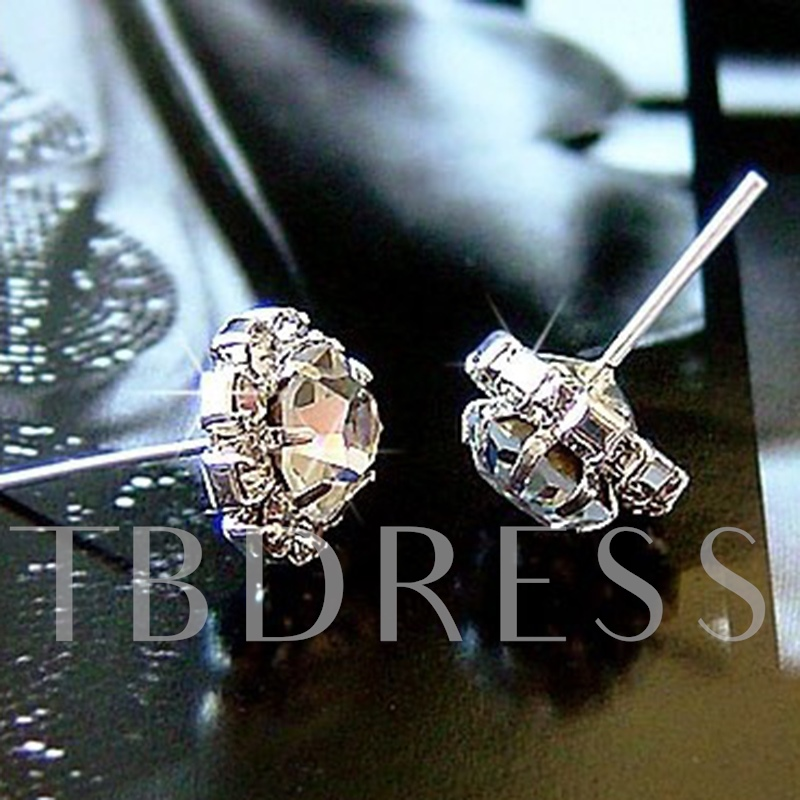 Sparkling Sun Flower Zircon Stud Earrings
