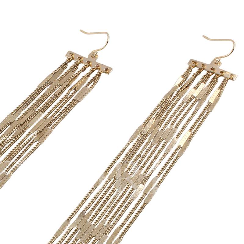 Multilayer Exaggerated Long Golden Chain Earrings