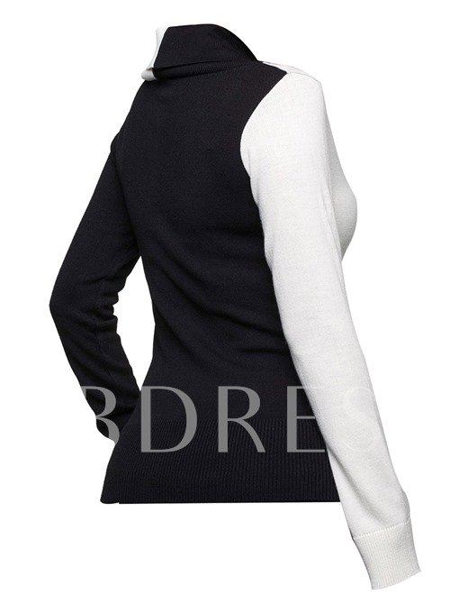 Color Block Button Decor Knitted Women's Sweater