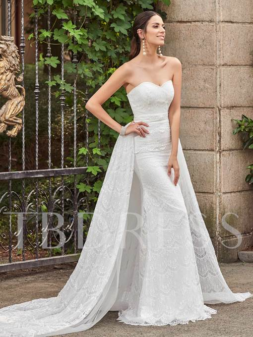 Sweetheart Lace Zipper-Up Mermaid Wedding Dress