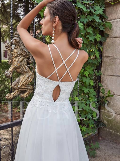 Spaghetti Straps Appliques Beading A-Line Wedding Dress