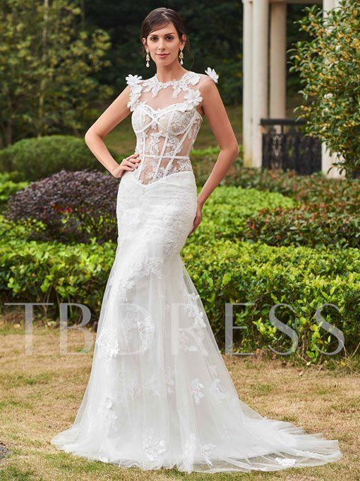Jewel Neck Appliques Buttons Mermaid Wedding Dress