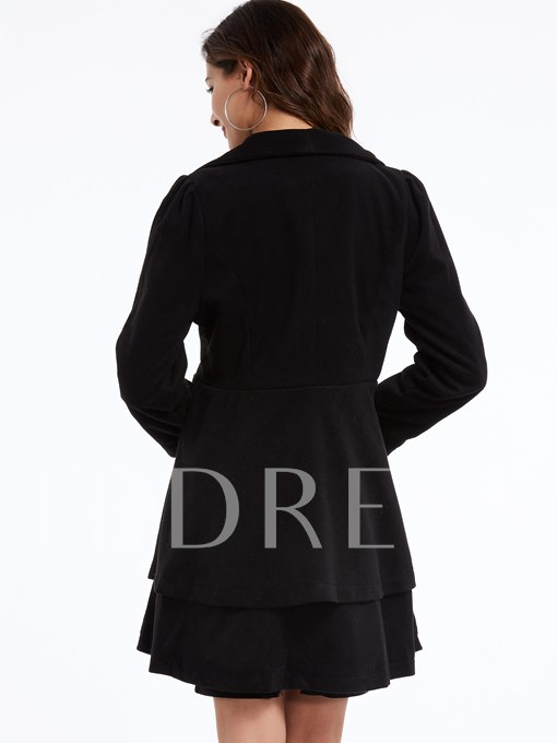 Pure Color Turndown Collar Women's Overcoat