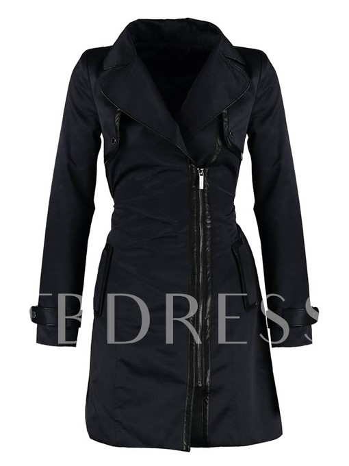 Zipper Plain Straight Lapel Women's Trench Coat