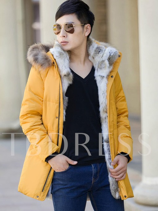 Faux Fur Collar Solid Color Men's Casual Down Jacket
