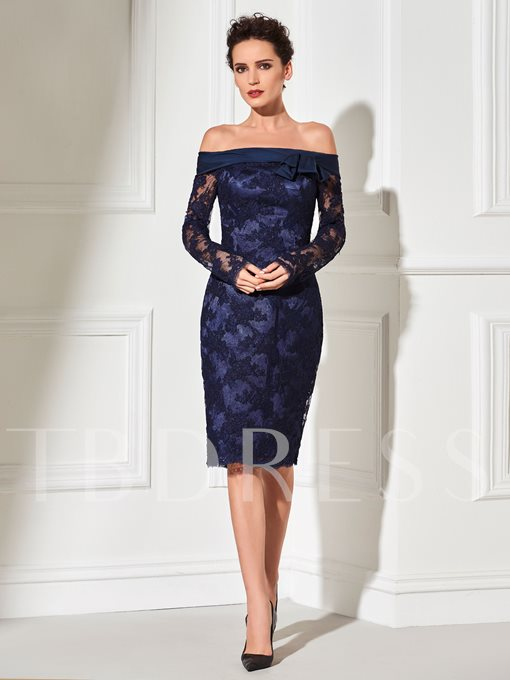 Off-the-Shoulder Sheath Bowknot Cocktail Dress