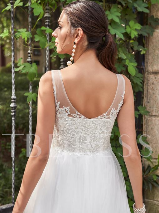Scoop Neck Lace Zipper-Up Ankle-Length Wedding Dress