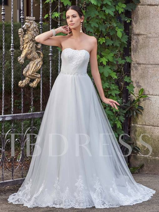 Strapless Appliques Beading Lace-Up A-Line Wedding Dress