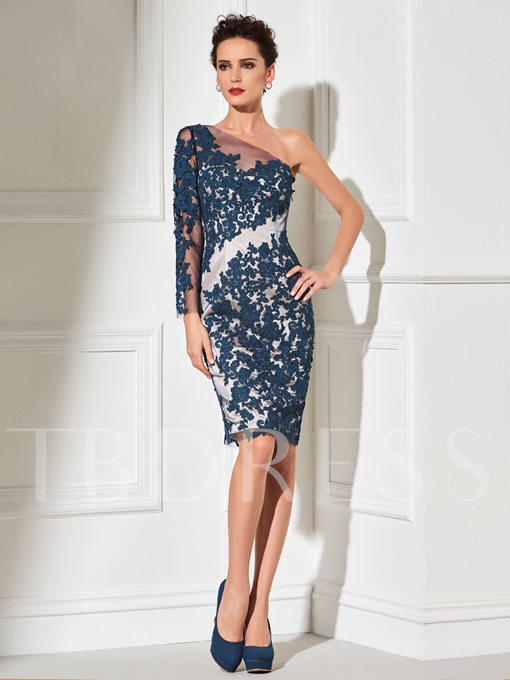 Sheath One-Shoulder Appliques Cocktail Dress
