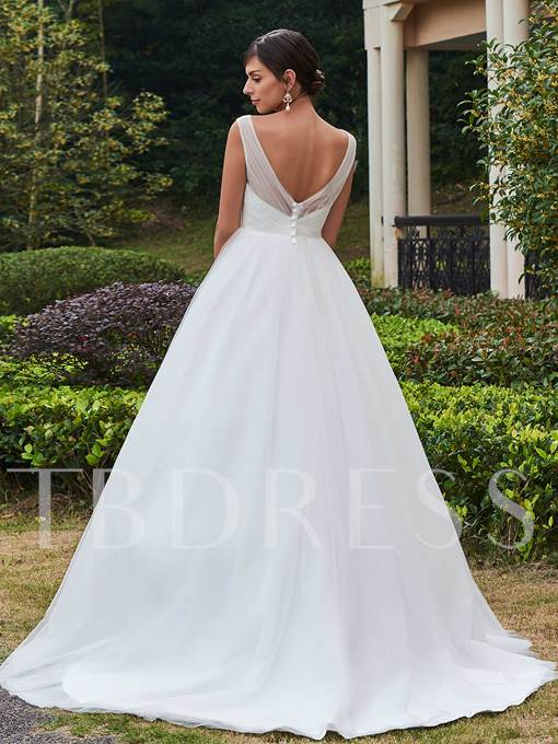 V-Neck Straps Beading Court Train Tulle Wedding Dress