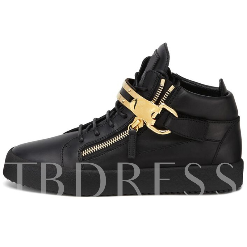 Side Zipper Plain Round Toe High-Cut Upper Women's Sneakers