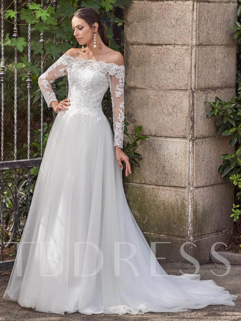 Long Sleeves Off-The-Shoulder Appliques A-Line Wedding Dress