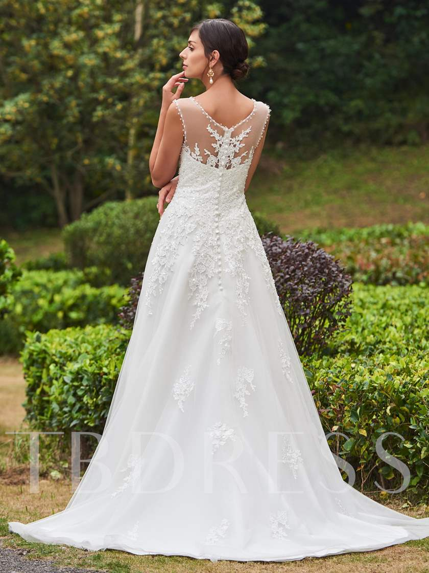 Beading Appliques Court Train A-Line Wedding Dress