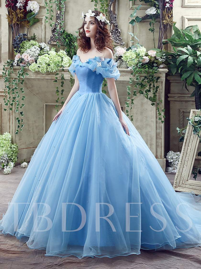 Off The Shoulder Sequins Ball Gown Cinderella Wedding Dress