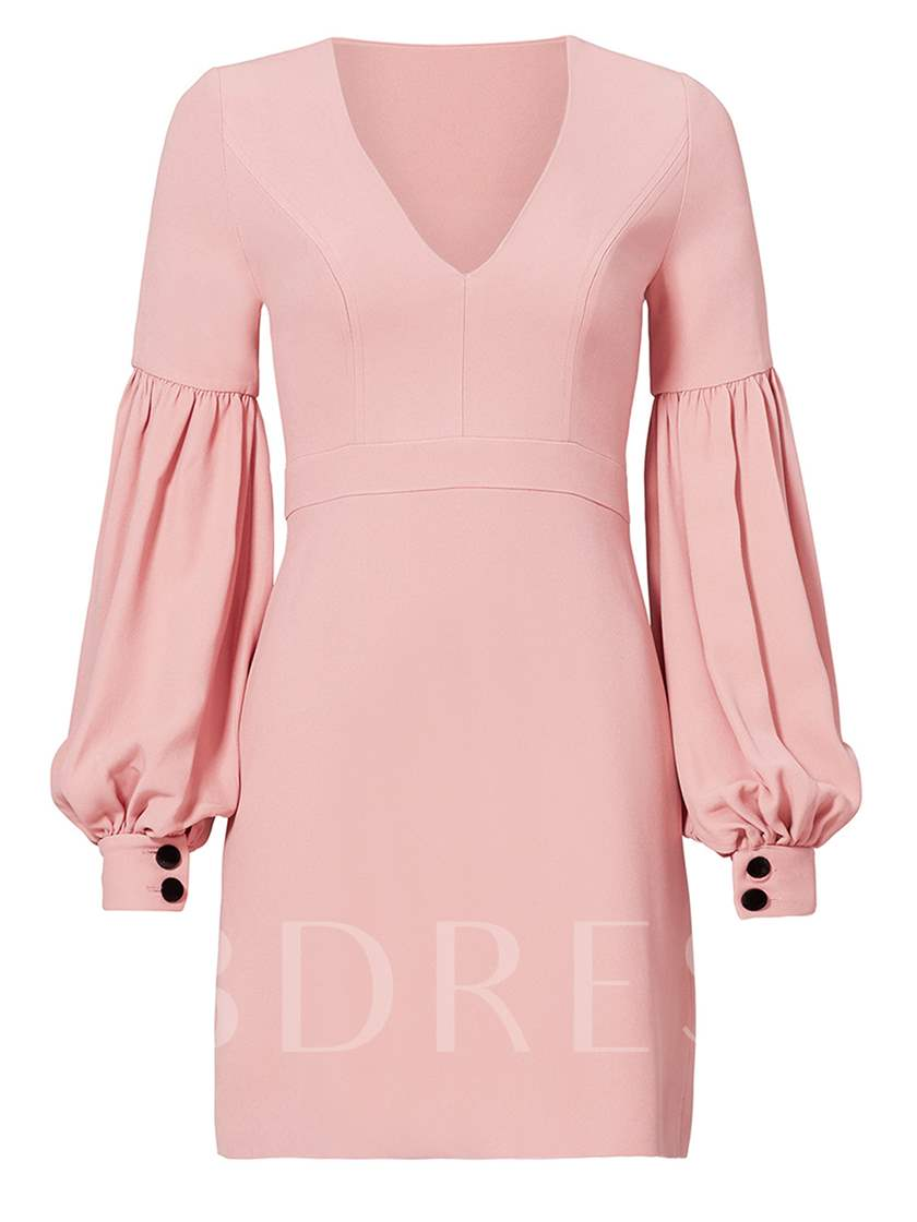 Plain V-Neck Lantern Sleeves Women's Bodycon Dress