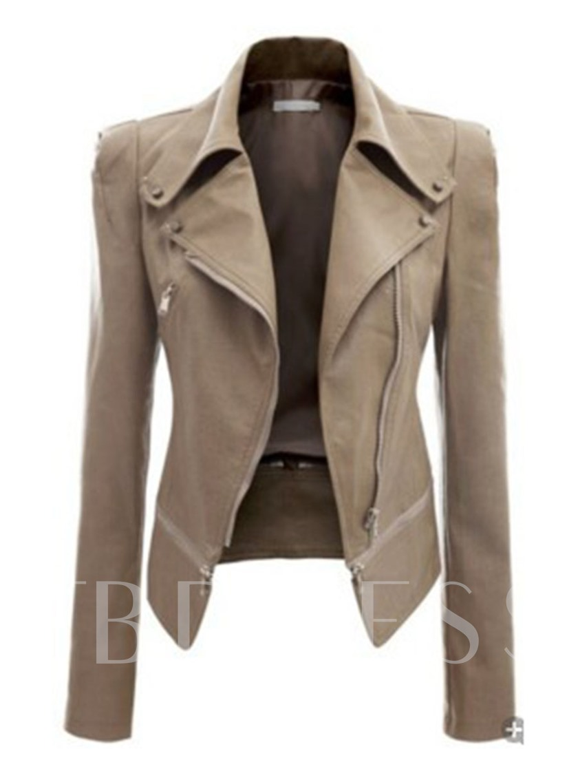 Zipper Slim Lapel Women's PU Jacket