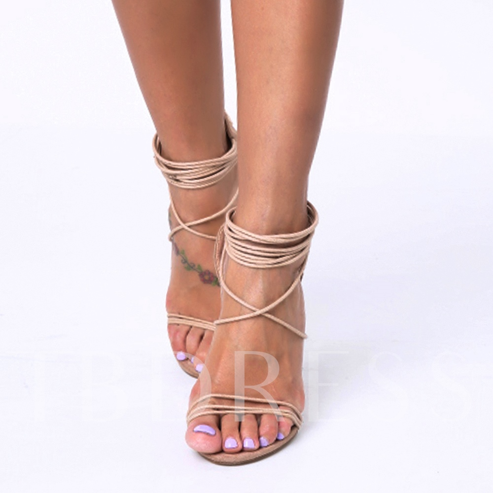 Open Toe Buckle Back Zipper Cross Strap Women's Sandals