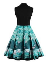 Square Neck Bowknot Floral Pleated Women's Day Dress