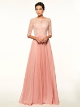 Button Back Lace Half Sleeves Mother Of The Bride Dress
